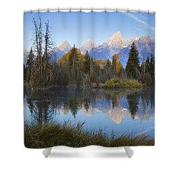 Grand Teton Morning Reflection Shower Curtain by Sonya Lang