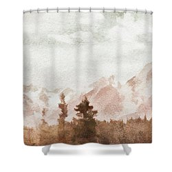 Shower Curtain featuring the painting Grand Teton Mountains by Greg Collins