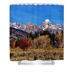 Shower Curtain featuring the photograph Grand Teton Panorama by Benjamin Yeager