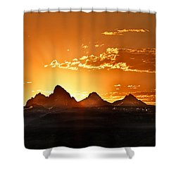Grand Teton Sunrise Shower Curtain by Leland D Howard