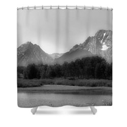 Shower Curtain featuring the photograph Grand Tetons Bw by Ron White