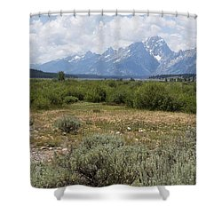 Grand Tetons From Willow Flats Shower Curtain by Belinda Greb