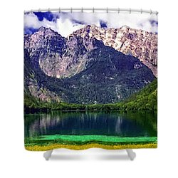 Grand Tetons National Park Painting Shower Curtain by Bob and Nadine Johnston