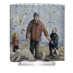 Grandfather Brother And Sister Shower Curtain