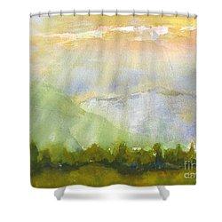 Grandma Cohen Rays Shower Curtain by Walt Brodis