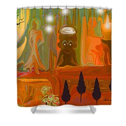 Shower Curtain featuring the painting Grandpas House For His Little Peeps by Sherri  Of Palm Springs