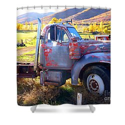 Shower Curtain featuring the photograph Grandpa's Mack Truck by Jackie Carpenter