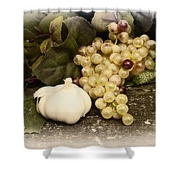 Grapes And Garlic Shower Curtain by Bill Cannon