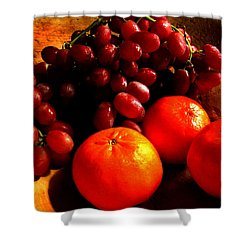 Grapes And Tangerines Shower Curtain by Greg Allore