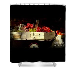 Grapes With Weighing Scale Shower Curtain