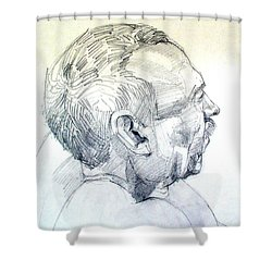 Shower Curtain featuring the drawing Graphite Portrait Sketch Of A Man In Profile by Greta Corens