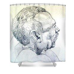Graphite Portrait Sketch Of A Man In Profile Shower Curtain
