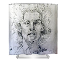 Shower Curtain featuring the drawing Graphite Portrait Sketch Of A Well Known Cross Eyed Model by Greta Corens