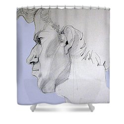 Shower Curtain featuring the drawing Graphite Portrait Sketch Of A Young Man In Profile by Greta Corens