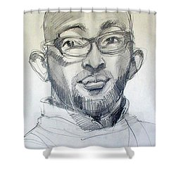 Shower Curtain featuring the drawing Graphite Portrait Sketch Of A Young Man With Glasses by Greta Corens