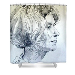 Shower Curtain featuring the drawing Portrait Drawing Of A Woman In Profile by Greta Corens