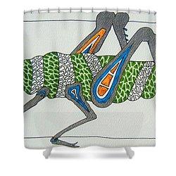 Grass Hopper I Shower Curtain by Kruti Shah