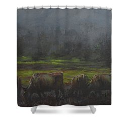 Grass It's What's For Dinner Shower Curtain by Mia DeLode