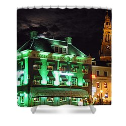 Grasshopper Bar Shower Curtain by Adam Romanowicz