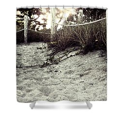Grassy Beach Post Entrance At Sunset 2 Shower Curtain