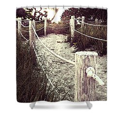 Grassy Beach Post Entrance At Sunset Shower Curtain