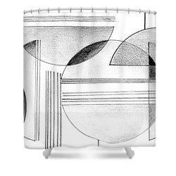Shower Curtain featuring the drawing Gray And Black Abstract by Mary Bedy