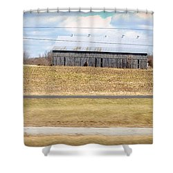 Gray Barn In A Cornfield Shower Curtain by Paulette B Wright