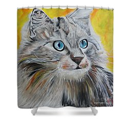 Shower Curtain featuring the painting Gray Cat by PainterArtist FIN
