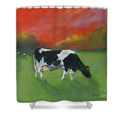 Grazing Cow Shower Curtain by Robin Maria Pedrero