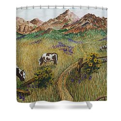 Grazing Cows Shower Curtain by Katherine Young-Beck