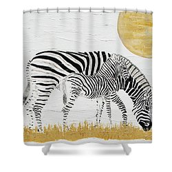 Shower Curtain featuring the painting Grazing Together by Stephanie Grant