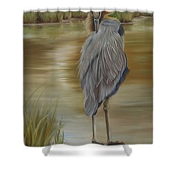Great Blue Heron At Half Moon Island Shower Curtain