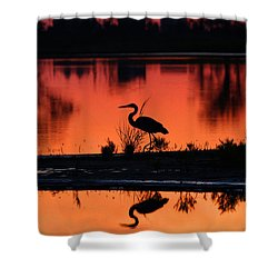 Great Blue Heron At Sunrise Shower Curtain by Allan Levin