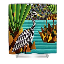 Great Blue Heron Shower Curtain by Bruce Bodden