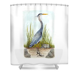 Great Blue Heron Shower Curtain by Cindy Hitchcock
