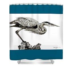 Da116 Great Blue Heron By Daniel Adams Shower Curtain