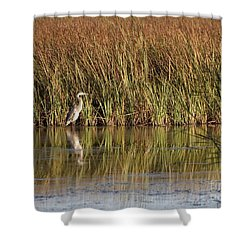 Great Blue Heron Shower Curtain by Steven Ralser