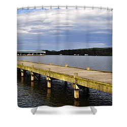 Great Blue Heron Sunning On The Dock Shower Curtain by Verana Stark