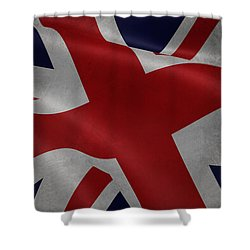 Great Britains Flag Waving On Canvas Shower Curtain