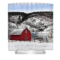Great Canadian Red Barn In Winter Shower Curtain by Peter v Quenter