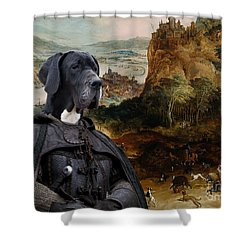 Great Dane Art - The Boar Hunt Shower Curtain