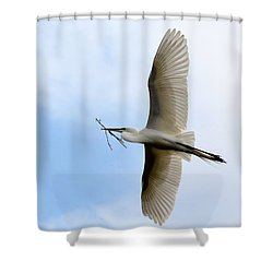 Great Egret In Flight Shower Curtain by Richard Bryce and Family