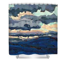 Great Horned Sunset Shower Curtain by Phil Chadwick