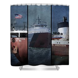 Great Lakes Freighter Triptych Arthur M Anderson Shower Curtain