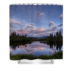 Great North Woods Sunset In New Hampshire Shower Curtain