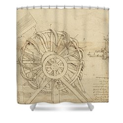 Great Sling Rotating On Horizontal Plane Great Wheel And Crossbows Devices From Atlantic Codex Shower Curtain by Leonardo Da Vinci