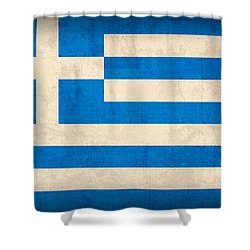 Greece Flag Vintage Distressed Finish Shower Curtain by Design Turnpike