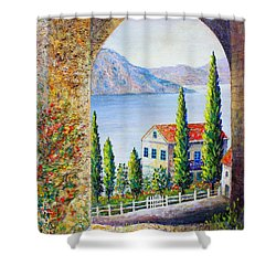 Greek Arch Vista Shower Curtain by Lou Ann Bagnall