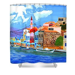 Greek Coast Shower Curtain by Magdalena Frohnsdorff