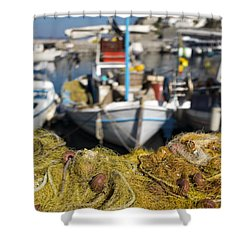 Greek Fishing Harbour Shower Curtain by Mike Santis